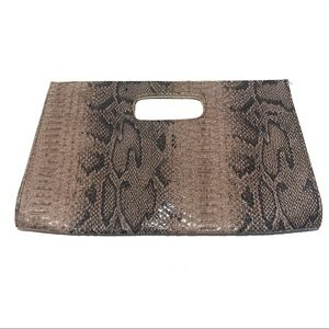 Tan and Black Large Snakeskin Clutch